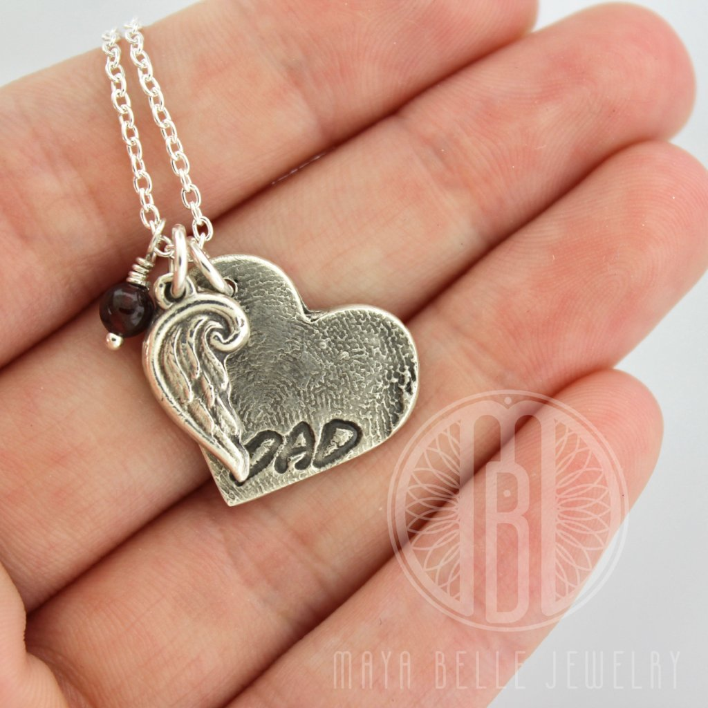 Large Fingerprint Charm with Custom Handwriting, Angel Wing, and Birthstone - Maya Belle Jewelry