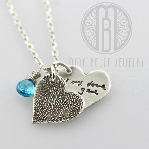 Necklace with One Handwriting and One Fingerprint Charm In Choice of Shape with Choice of Birthstone