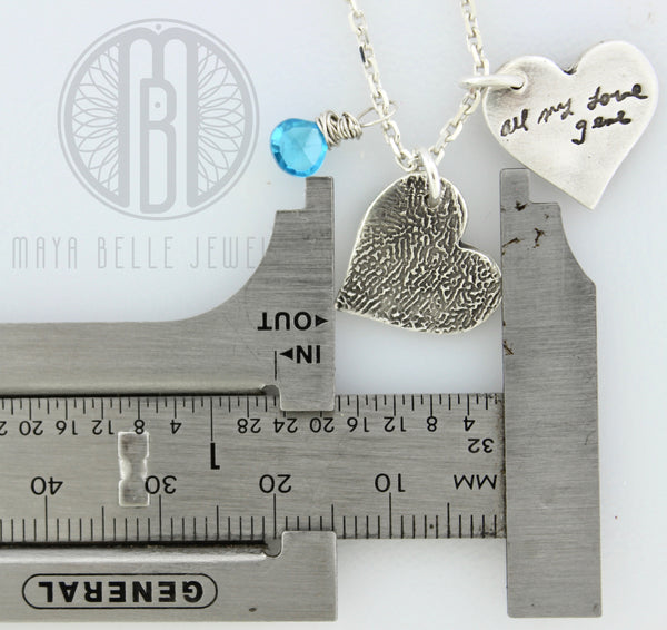 Necklace with One Handwriting and One Fingerprint Charm In Choice of Shape with Choice of Birthstone - Maya Belle Jewelry