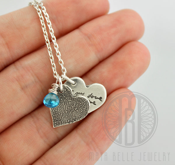 Two Small Fingerprint Charms Necklace with Custom Handwriting and Birthstone - Maya Belle Jewelry