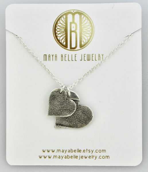 Two Fingerprint Charms Necklace Pure Silver with choice of shape and birthstone - Maya Belle Jewelry