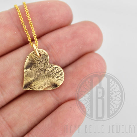 Small Dog Nose (or Paw) Print Charm Necklace in Pure Bronze - Maya Belle Jewelry