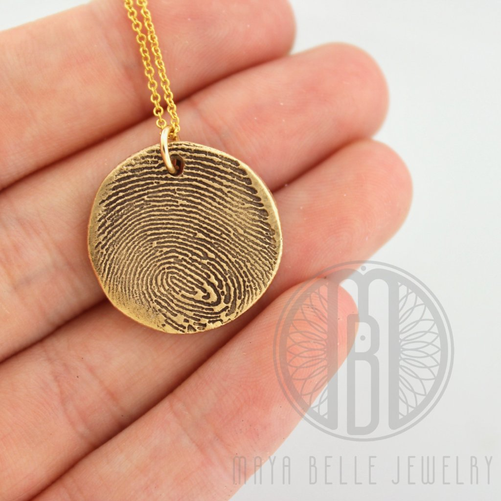 Large Bronze Fingerprint Necklace, 14k Gold Filled Necklace - Maya Belle Jewelry
