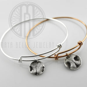 Dog Nose Charm Bangle in Choice of Metal and Shape - Maya Belle Jewelry