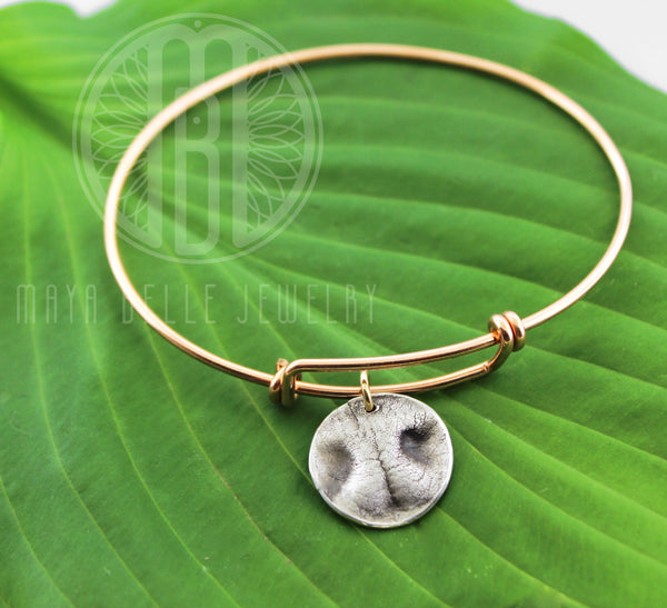 Small Dog Nose Print Charm Bangle - Maya Belle Jewelry