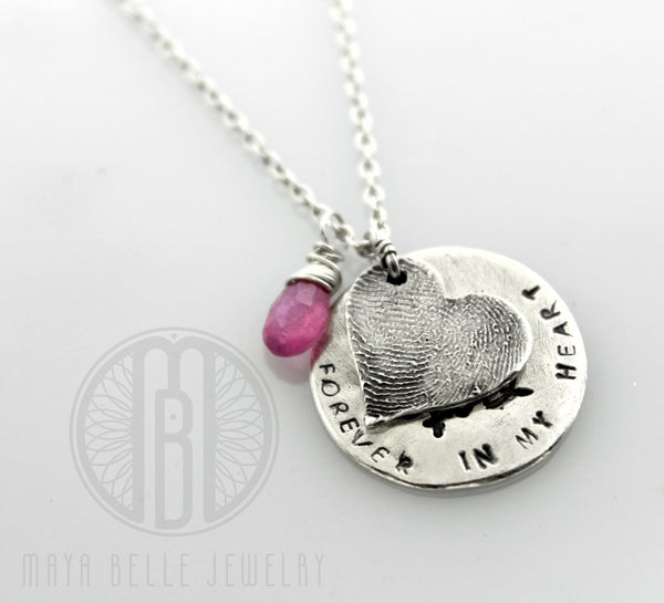 Fingerprint and actual handwriting memorial keepsake necklace with choice of birthstone - Maya Belle Jewelry