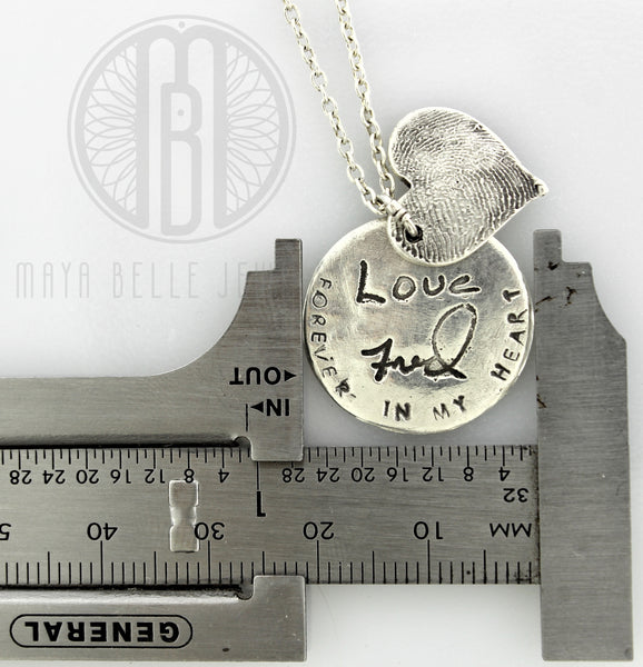 Fingerprint and Personalized Circle Charm Necklace with Custom Handwriting and Birthstone - Maya Belle Jewelry