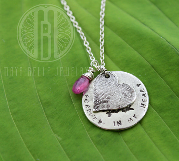 Fingerprint Charm with Birthstone, Personalized Circle Charm and Custom Handwriting - Maya Belle Jewelry