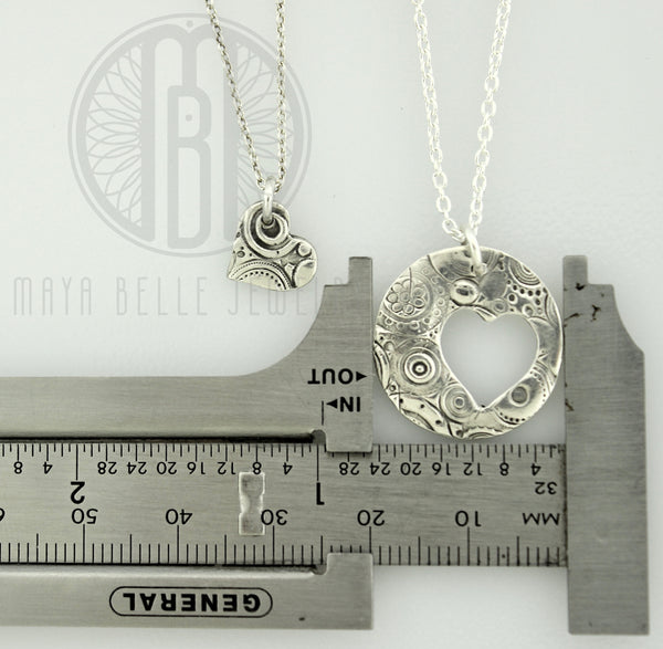 Mother/Daughter necklaces (One adult large circle with one child's heart cut out) - Maya Belle Jewelry