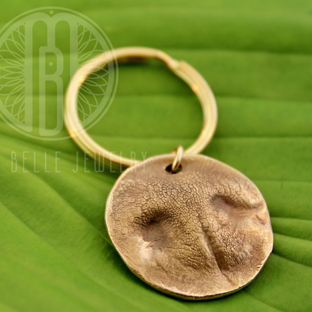 Large Dog Print Keychain in Pure Bronze