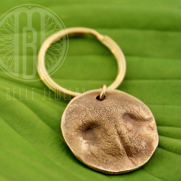Large Dog Print Keychain in Pure Bronze - Maya Belle Jewelry
