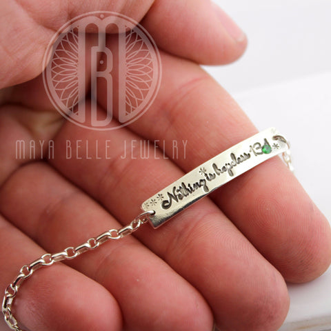Custom Engraving Bracelet with inlaid Birthstone - Maya Belle Jewelry