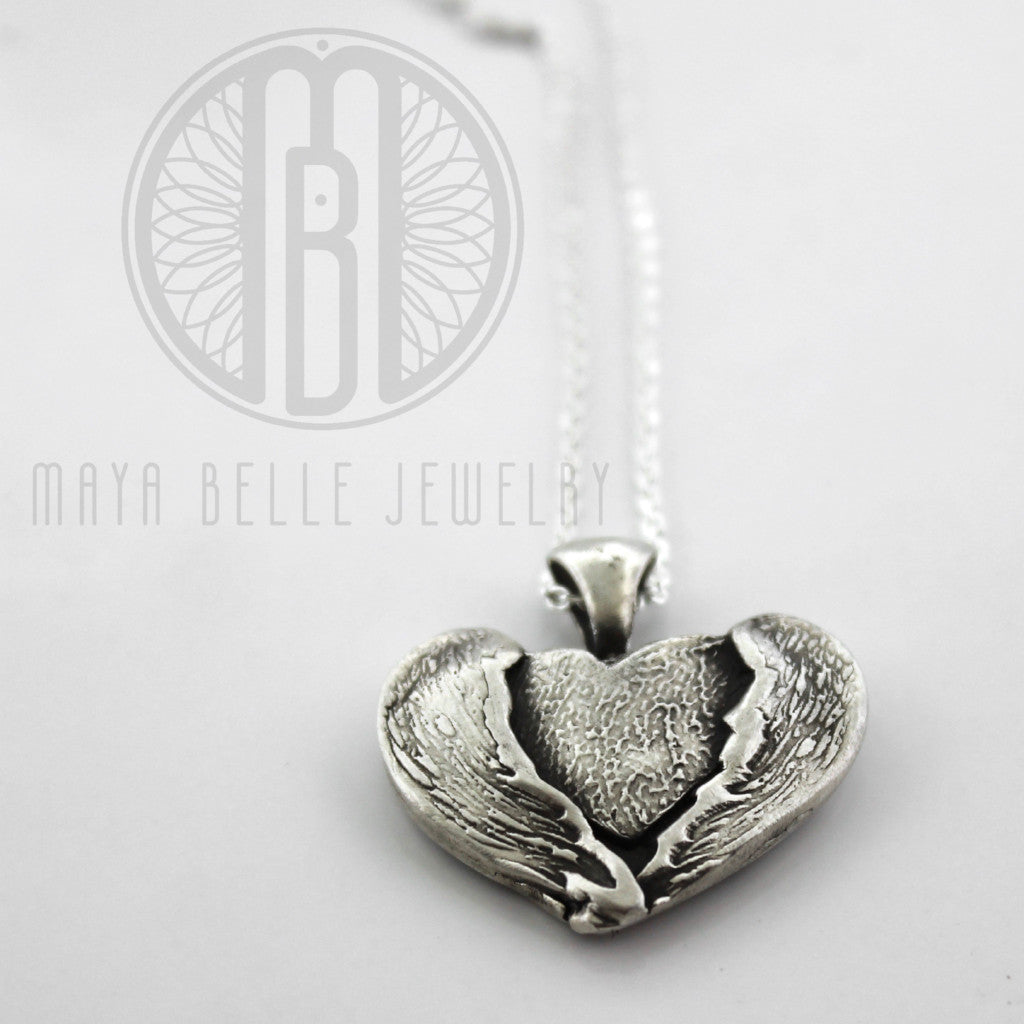 In the arms of the angels, pure silver fingerprint wrapped in angel wings, fingerprint necklace