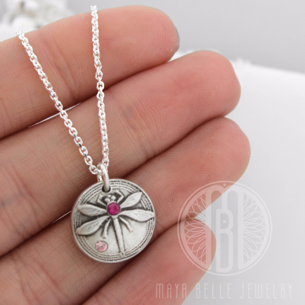 READY TO SHIP! Dragonfly Fingerprint Pendant necklace set with ruby cz and pink tourmaline