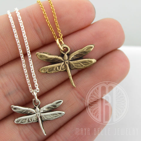 Add a Handmade, Dragonfly Charm in Bronze or Pure, Solid Silver (.999)