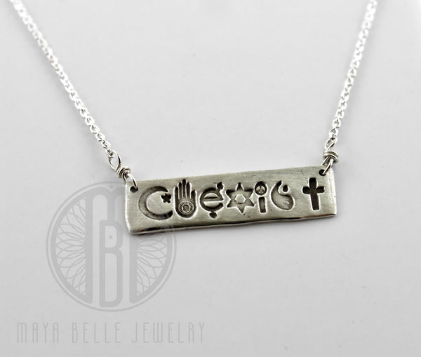 Coexist Bar Necklace in Either Bronze or Silver - Maya Belle Jewelry