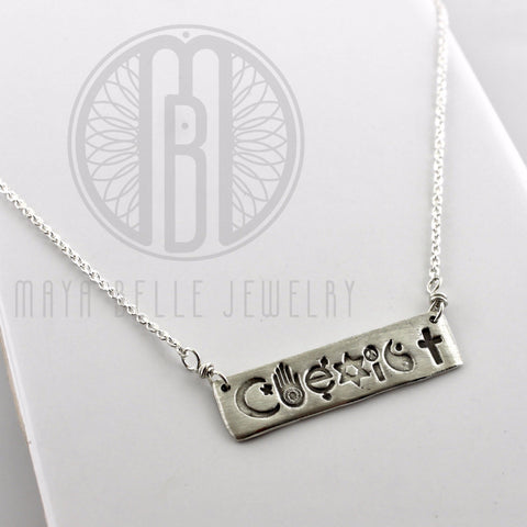 Coexist Bar Necklace in Either Bronze or Silver