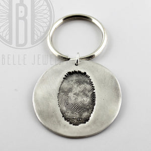 Large Fingerprint Keychain in Silver with Choice of Back Engraving