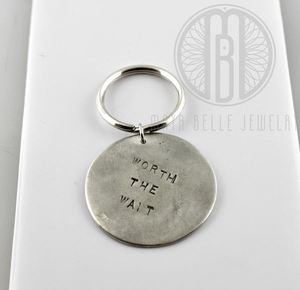 Large Fingerprint Keychain in Silver with Choice of Back Engraving - Maya Belle Jewelry