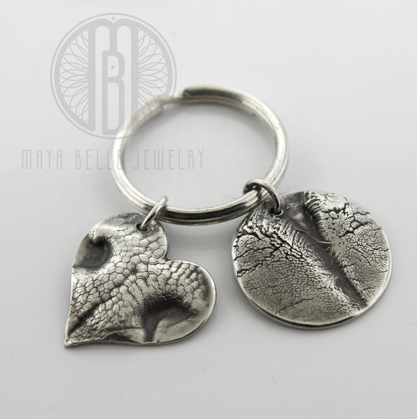 TWO Large Doggie Nose (or Paw) Prints Keychain with Custom Engraving - Maya Belle Jewelry