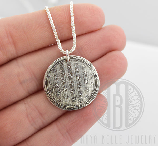 Sacred Geometry: Flower of Life Fingerprint Necklace in Silver or Bronze - Maya Belle Jewelry