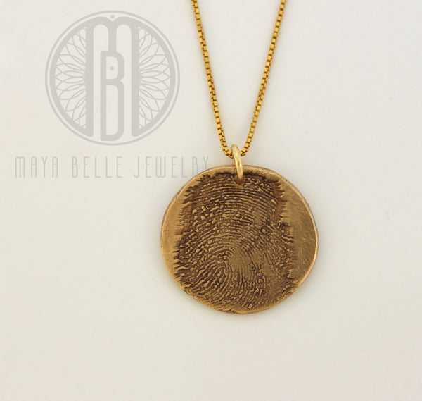 Large Fingerprint Necklace with Engraving on the back - Maya Belle Jewelry
