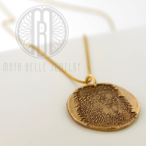 Large Bronze Fingerprint Necklace, 14k Gold Filled Necklace