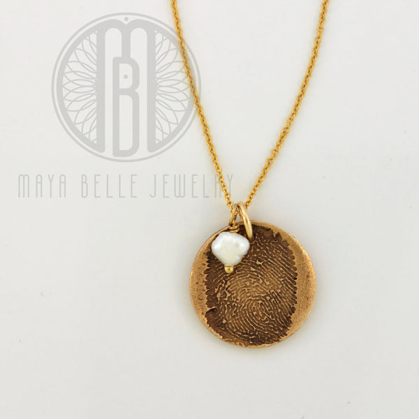Small Fingerprint Necklace with Engraving on the back and Birthstone - Maya Belle Jewelry