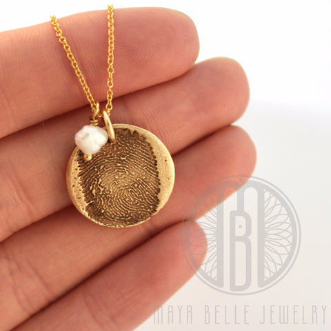 Small Fingerprint Necklace with Engraving on the back and Birthstone