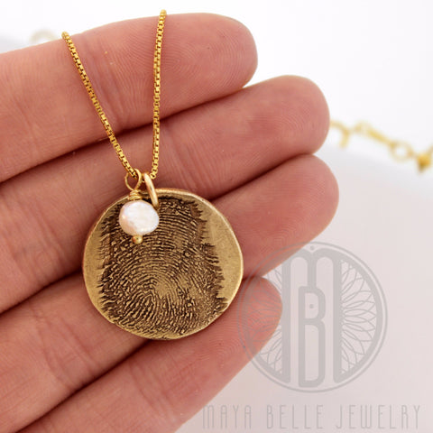 Large Bronze Fingerprint Necklace with Genuine Birthstone, 14k Gold Filled Necklace