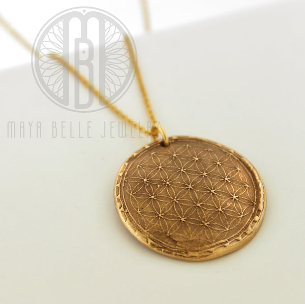 Sacred Geometry: Flower of Life Fingerprint Necklace in Silver or Bronze