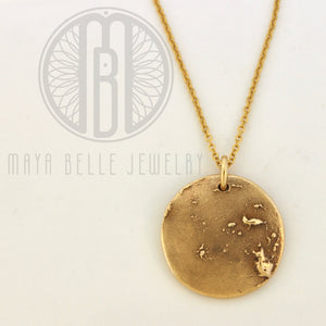 Moon Necklace in Pure Bronze, made from ACTUAL image of the Moon, 14k gf chain