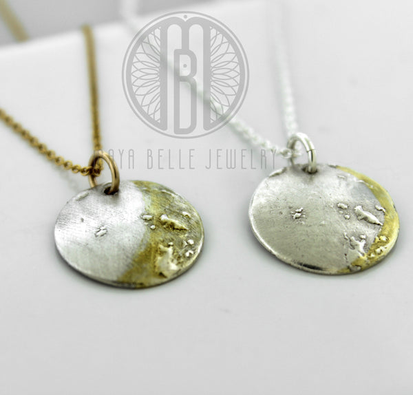 Custom Personalized Moon Phase Necklace, made from actual moon image, 22k gold moon phase