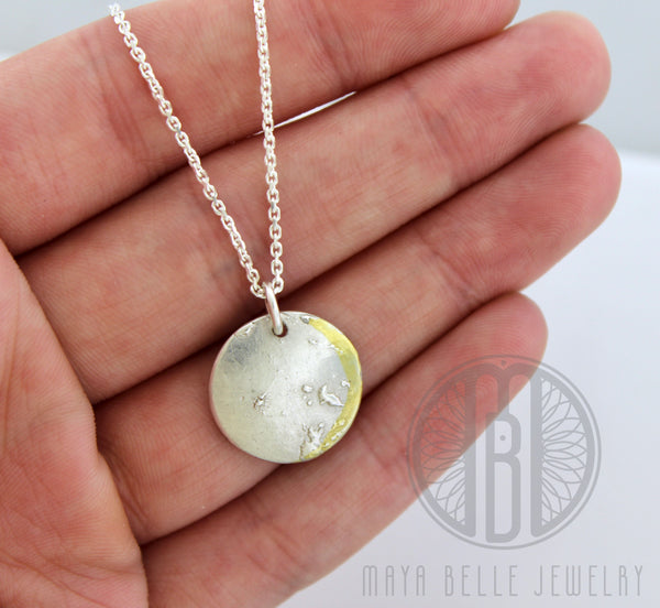 Personalized Moon Phase Necklace In Silver with Gold Accent - Maya Belle Jewelry
