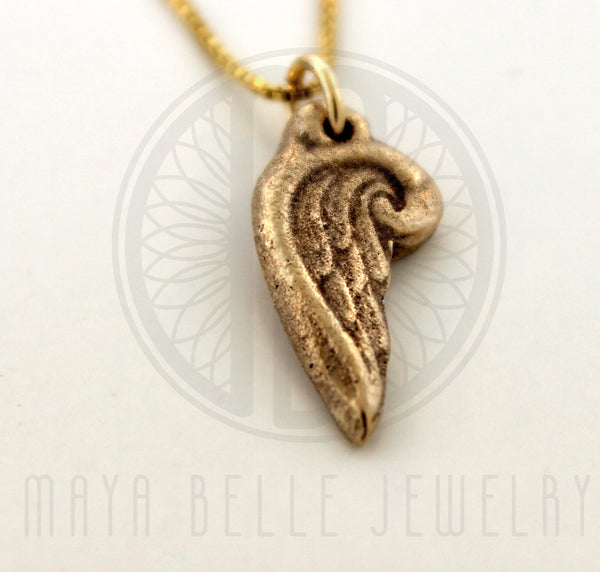 Add a Handmade Angel Wing Charm in Gold or Silver - Maya Belle Jewelry