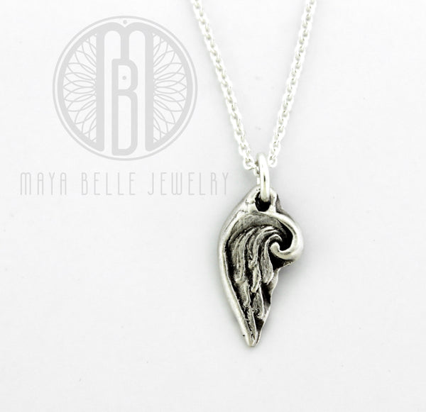 Angel Wing Charm Necklace in Bronze or Fine, Pure Silver (.999)