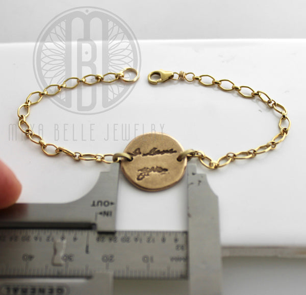 Thumbprint, Fingerprint and Handwriting Reversible Bracelet from JPEG image in Pure Bronze and 14k gf