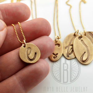 Personalized handmade Initial necklaces in solid bronze and gold - Maya Belle Jewelry