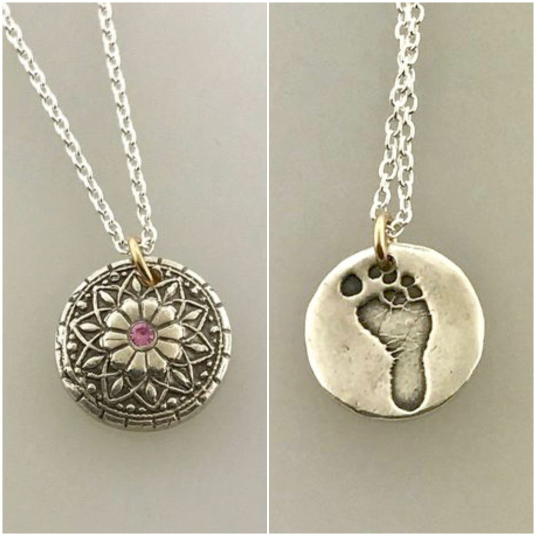 Mandala Necklace with Set Birthstone in your Choice of either Bronze or Silver - Maya Belle Jewelry