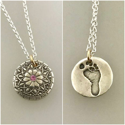 Mandala Footprint necklace, baby footprint, Two tone, Sterling Silver, 14K GF