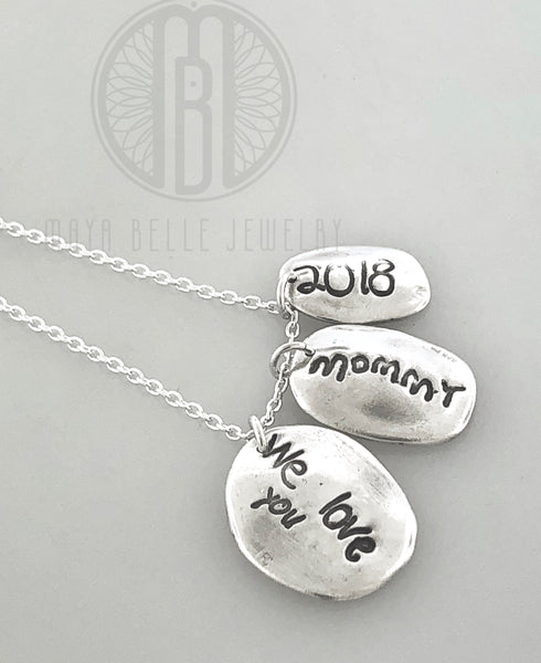 Three Children's Fingerprints with Custom Handwriting Necklace in Pure Solid Silver - Maya Belle Jewelry
