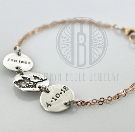 Custom Image Bracelet with Engraved Name and Date in Silver and Rose Gold - Maya Belle Jewelry