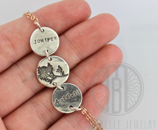 Custom Image Bracelet with Engraved Name and Date in Silver and Rose Gold