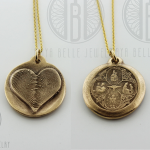 Scapular Metal Pendant with Fingerprint on the back in choice of Silver or Bronze - Maya Belle Jewelry