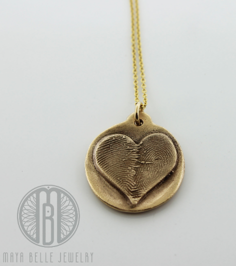 Scapular Metal Pendant with Fingerprint on the back in choice of Silver or Bronze