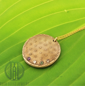 Sacred Geometry Necklace with Inlaid Birthstones