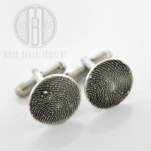 Silver Fingerprint Cuff Links