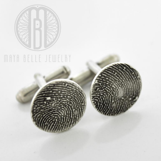 Silver Fingerprint Cuff Links - Maya Belle Jewelry