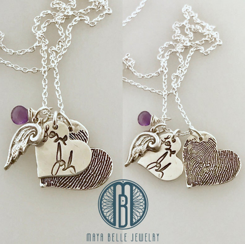 Fingerprint and handwriting angel wing memorial necklace - Maya Belle Jewelry