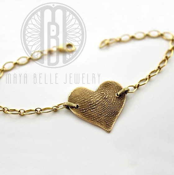 Fingerprint Chain Bracelet in Choice of Bronze or Silver and Shape - Maya Belle Jewelry